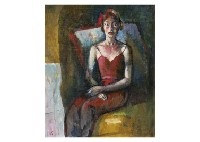 woman in the pose (+ woman seated on the chair; 2 works) by yoshihiko wada
