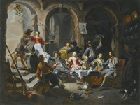 interior with soldiers drinking and carousing with women by willem van herp the elder