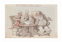 punch cures the gout (recto) and two figures with horse and cart (verso) by thomas rowlandson