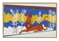 design for the staircase frieze from phèdre, act ii by leon bakst