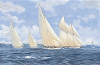 westward and yankee leading the fleet with britannia and shamrock astern by john j. holmes