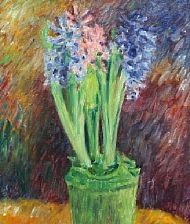 hyacinths in green vase by sigurd swane