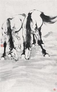 双骏图 立轴 设色纸本 by xu beihong