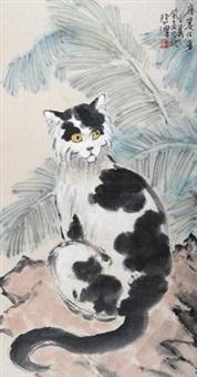 猫 镜片 设色纸本 by xu beihong