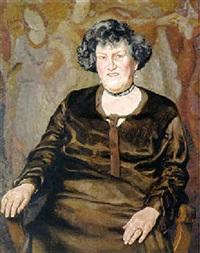 portrait einer älteren dame mit brillant-pendeloques und halskette by franz köck