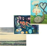 danserinden og sneglen, fablens ret and landscape (3 works) by henry heerup