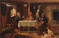 the hunters around a table by alexander austen