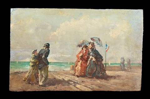 figures on the beach pair by eugène boudin