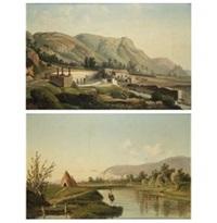 paesaggio fluviale con lavandaia; paesaggio collinare con architettura e figure (pair) by anonymous (19)