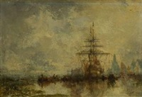 segelschiff im hafen by jean etienne karnec