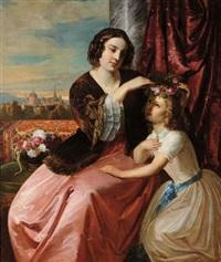 contessa con figlia by natale schiavoni