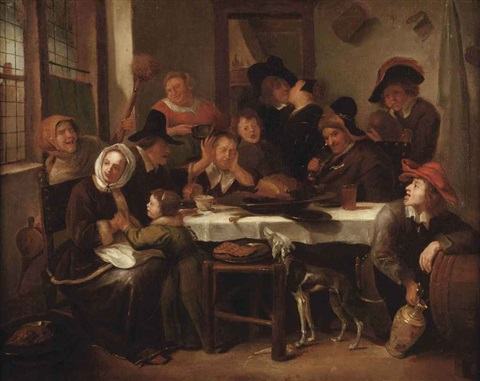 a merry company eating and drinking in an interior by jan steen