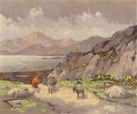 wicklow hills, irish landscape with a figure and donkeys on a path by mabel young