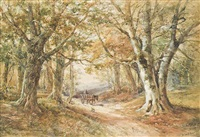 horses and wagons on a country path; and a wooded landscape with rustics on a horse-drawn cart (one illustrated) by henry earp