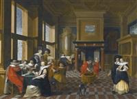 an interior scene with elegant figures playing music by dirck van delen