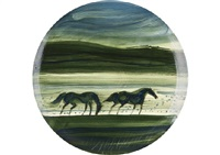 two horses (plate) by andré brasilier