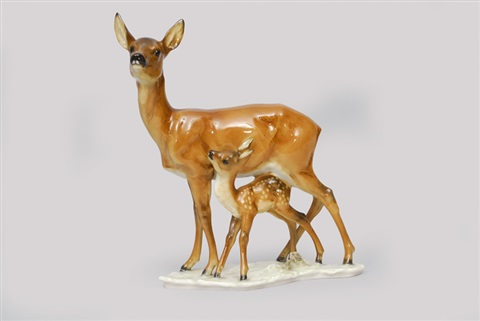 doe with fawn by hans achtziger