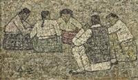 five seated figures by park soo-keun