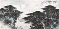 写王维诗意 镜片 设色纸本 by li xiongcai