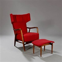 wingback chair and matching footstool by eva and nils koppel