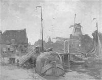 abendstimmung in einem niederländischen grachthafen by chris snijders
