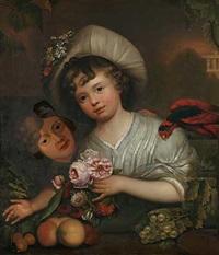 portrait eines mädchens mit blumen und früchten by karl wilhelm wach