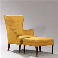 easy chair with footstool (set of 2) by frits henningsen