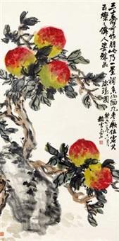 寿桃图 屏轴 设色纸本 by zhao yunhe