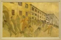 figures on a curved street, florence by leonard rosoman