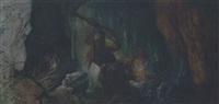 grotte mit kristall abbauenden zwergen by bernhard liebig