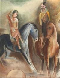 zwei zirkus-reiterfiguren by heinrich heidner