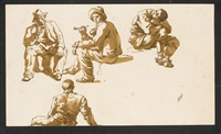 pair of figure studies of travellers resting (4 works) by carlo labruzzi