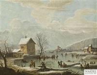 winterliches eisvergnügen auf einem zugefrorenen see by daniel van heil