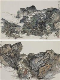 two landscape paintings by hong bo