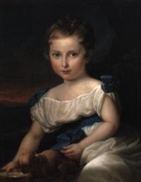 portrait eines kindes in weißem kleid by karl gottlieb schweikart