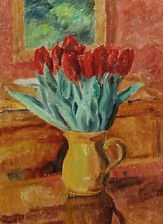 still life with red tulips in a yellow jug by sigurd swane