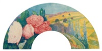 landscape with roses (design for a fan) by louis georges eléonor roy