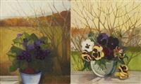 floral still-lifes (pair) by lydia dmitrievsky