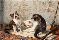 drei kätzchen auf einem notenblatt by julius adam (unattributable)
