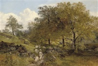 a shepherd and his flock on a country path by joseph adam