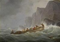 ruderboot an stürmischer felsenküste by johann baptist weiss