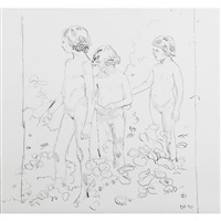 three girls; three girls (2 works) by duncan hannah