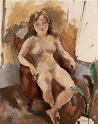 weiblicher akt in einem sessel sitzend by jules pascin