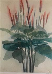stilleben mit darstellung von wasserpflanzen mit breiten blättern und blütenstängeln in grün und rot by davide benati