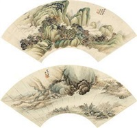 山水 (二件) (2 works; various sizes) by xiao xun
