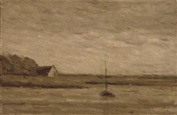 a sailboat moored on a quiet estuary by arthur douglas peppercorn