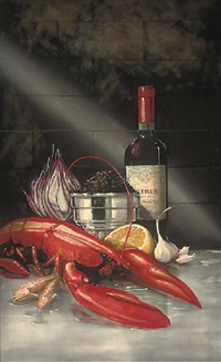 a lobster, onion, caviar, garlic and lemon with a bottle of petrus by paul karslake