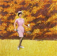 untitled (nurse playing badminton) by wang xingwei