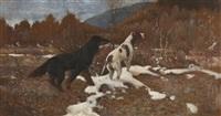 landskap med fuglehunder by halfdan gran