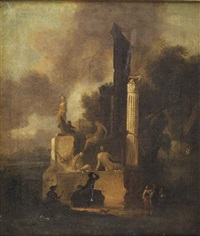 an italianate landscape with a marble sculpture, a roman column and classical ruins, an artist drawing and figures conversing in the foreground by charles cornelisz de hooch